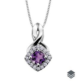Birthstone Diamond Pendant (Jan - Dec) White Gold