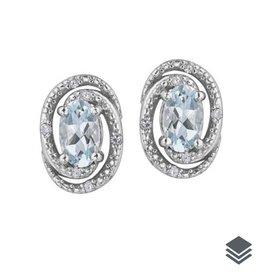 Birthstone Diamond Earrings (Jan - Dec) Sterling Silver