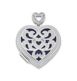 Silver Rhodium Plated Diamond Heart Vintage Locket