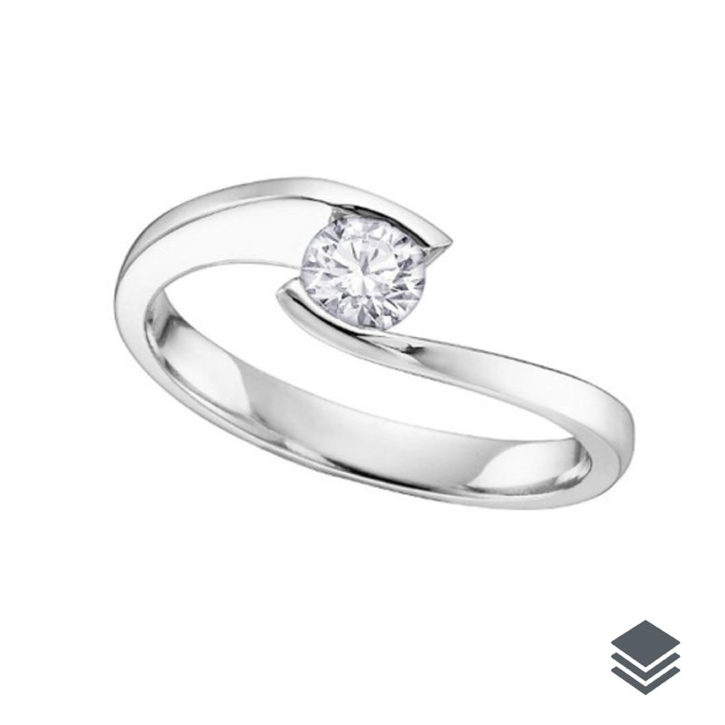 10K White Gold (0.05ct - 0.15ct) Tension Set Solitaire Diamond Promise Ring