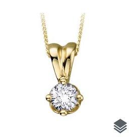 14K Yellow Gold (0.10ct - 0.25ct) Diamond Solitaire Pendant