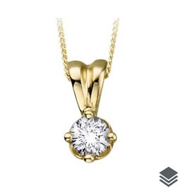 14K Yellow Gold Diamond Solitaire (0.10ct - 0.25ct) Pendant