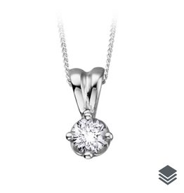 14K White Gold (0.10ct - 0.25ct) Diamond Solitaire Pendant