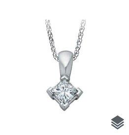 14K White Gold (0.14ct - 0.40ct) Princess Cut Diamond Solitaire Pendant