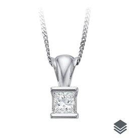 14K White Gold (0.10ct - 0.40ct) Princess Cut Diamond Solitaire Pendant