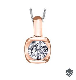 I am Canadian 14K Rose and White Gold (0.15ct - 0.30ct) Canadian Diamond Solitaire Pendant