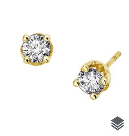 10K Yellow Gold Diamond Solitaire (0.06ct - 0.60ct) Stud Earrings