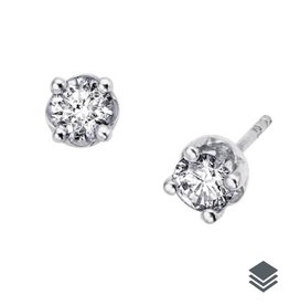14K White Gold Diamond Solitaire (0.06ct - 0.60ct) Stud Earrings