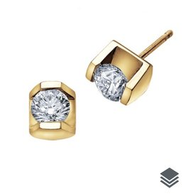 Maple Leaf Diamonds Yellow Gold Tension Set (0.15ct - 0.50ct) Diamond Stud Earrings