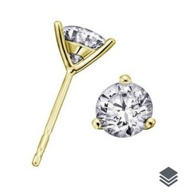 18K Yellow Gold Canadian Diamond (0.15ct - 0.70ct) Martini Set Stud Earrings