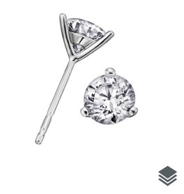 18K White Gold Canadian Diamond (0.15ct - 1.00ct) Martini Set Stud Earrings