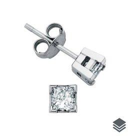 Maple Leaf Diamonds 14K White Gold Princess Cut  (0.10ct - 1.00ct) Canadian Diamond Stud Earrings