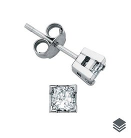 Maple Leaf Diamonds White Gold Princess Cut  (0.10ct - 1.00ct) Canadian Diamond Stud Earrings