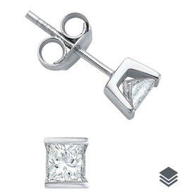 Maple Leaf Diamonds 14K White Gold Princess Cut  (0.10ct - 0.50ct) Diamond Stud Earrings