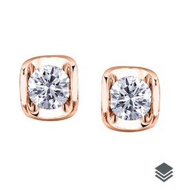 Maple Leaf Diamonds Rose Gold Tension Set (0.15ct - 0.50ct) Canadian Diamond Stud Earrings