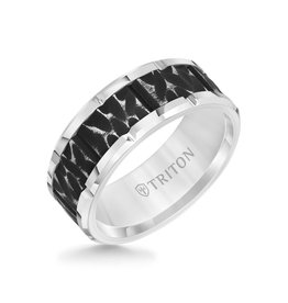 Triton Black Sand Blast Centre Tungsten Carbide 9mm Band