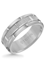 Triton Triton 8MM Tungsten Carbide Ring (Black, Grey, White) Brick Pattern
