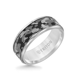 Triton Triton 8MM Grey Tungsten Carbide Ring - Camouflage Pattern and Flat Edge