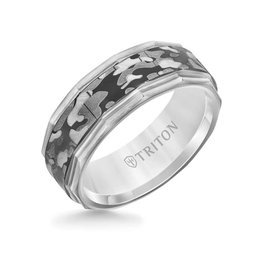 Triton Triton 8MM Grey Tungsten Carbide Ring - Camouflage Pattern and Faceted Edge