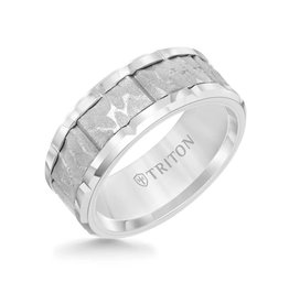 Triton Triton 9MM Tungsten Carbide Ring - Sandblasted Distressed Center