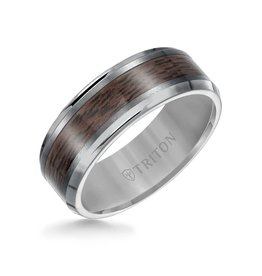 Triton Triton 8MM Tungsten Carbide Ring - Wood Center and Bevel Edge