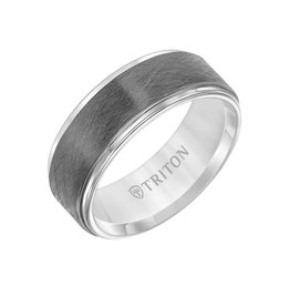 Triton Triton 8MM Tungsten Carbide Ring - Gunmetal Crystalline Center and Step Edge