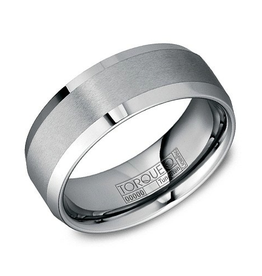 Torque Torque 8MM Tungsten Carbide Brushed Band Mens Ring