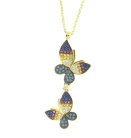 Sterling Silver Two Butterfly Multi CZ Necklace Gold Plated