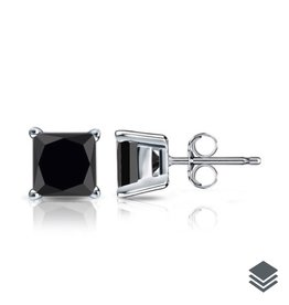 Sterling Silver (4mm - 6mm) Square Black CZ Stud Earrings