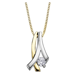 I am Canadian 10K Two Tone Yellow and White Gold (0.11ct) Canadian Diamond Contemporary Pendant