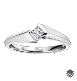 I am Canadian 14K White Gold (0.04ct - 0.13ct) Princess Cut Canadian Diamond Solitaire Promise Ring