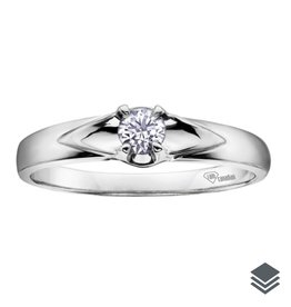 I am Canadian White Gold Canadian Diamond (0.04ct - 0.14ct) Solitare Ring