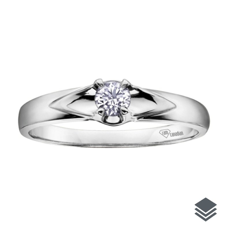 I am Canadian 10K White Gold (0.04ct - 0.14ct) Canadian Diamond Solitare Promise Ring