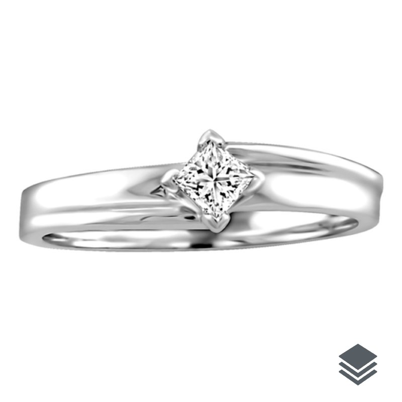 I am Canadian 10K White Gold (0.05ct - 0.10ct) Princess Cut Canadian Diamond Solitare Promise Ring