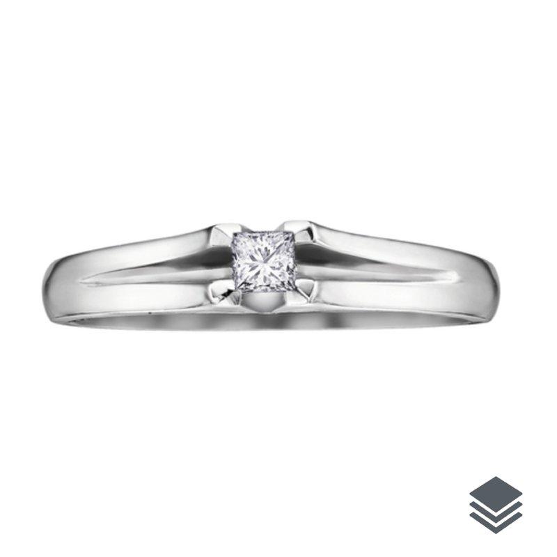 10K White Gold (0.05 - 0.10ct) Princess Cut Diamond Promise Ring