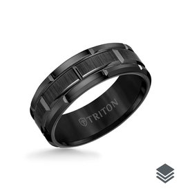 Triton Triton 8MM Tungsten Carbide Ring (Black, Grey, White) Brick Pattern