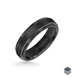 Triton Triton 6MM Tungsten Carbide Ring - (Black, Grey, White, Yellow, Rose) Step Edge