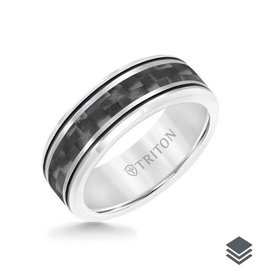 Triton Triton 8MM Tungsten Carbide Ring - (Black , Red) Matte Center Stripe and Bevel Edge