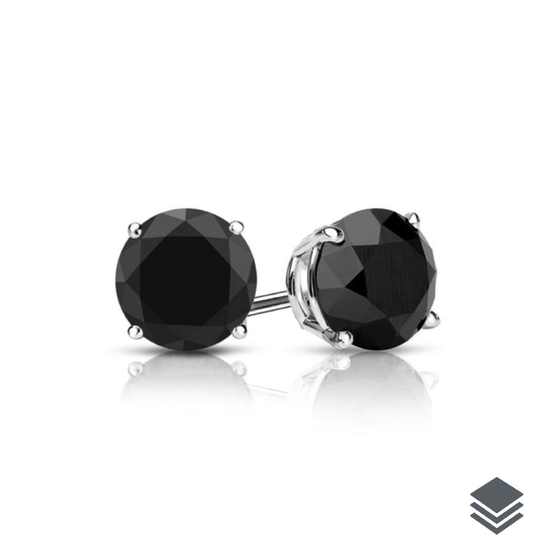 White Gold Black Diamond Solitaire (0.25ct - 1.00ct) Stud Earrings