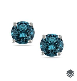 White Gold Blue Diamond Solitaire (0.25ct - 1.00ct) Stud Earrings