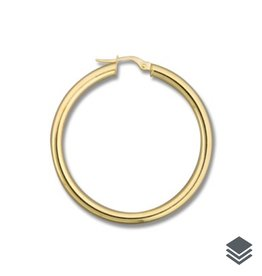 Yellow Gold 3mm Hoop  (20mm - 46mm) Earrings