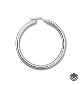 10K White Gold (3mm) Hoop Earrings (20mm - 46mm)