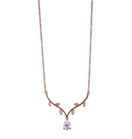 Reign Reign Sterling Silver Rose Gold Plated CZ Necklace
