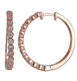 Reign Reign Sterling Silver Rose Gold Plated CZ Hoop Earrings