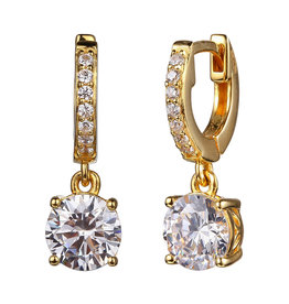 Reign Reign Sterling Silver Yellow Gold Plated CZ Drop Earrings