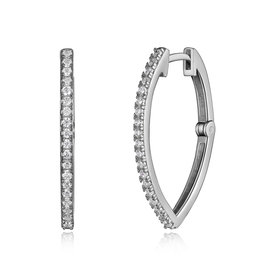 Reign Reign Sterling Silver CZ Hoop Earrings