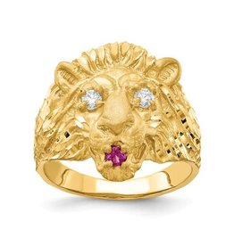 Yellow Gold Mens Lion Head Ring Red and White CZ