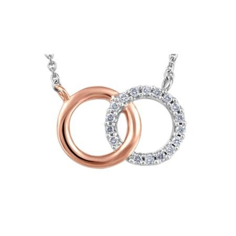 10K White and Rose Gold (0.07ct) Diamond Soulmates Necklace