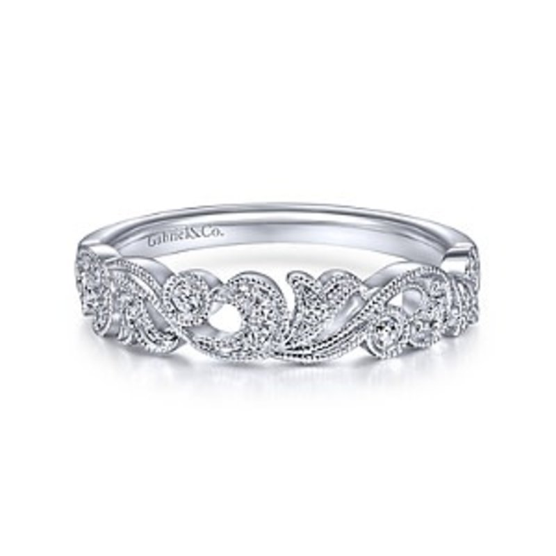 Gabriel & Co Gabriel & Co 14K White Gold Floral Diamond Anniversary Band with Millgrain