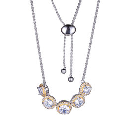 Reign Reign Sterling Silver Gold Plated CZ Necklace
